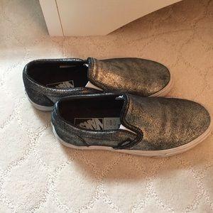 Vans Silver Metallic slip on shoe, women's 8.5